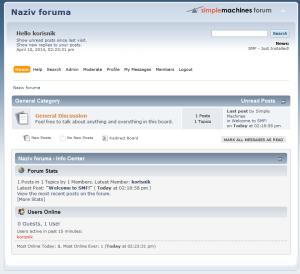 Sveže instalirani SMF forum